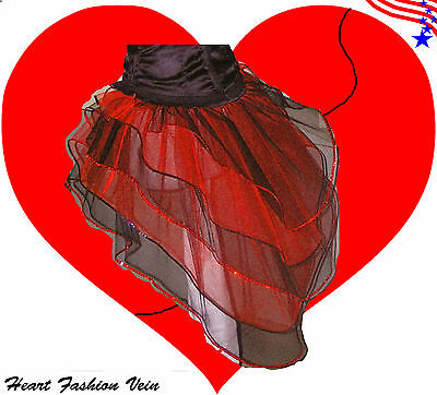 ❤️ Red Black Peacock Bustle Sequin Tutu Skirt Ladybug Queen of Heart Free USA ❤️