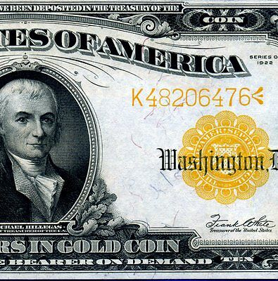1922 $10 Gold Certificate*** Very-Near Uncirculated *** # K48206476