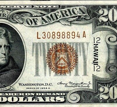 FR-2305 1934A $20 FRN (( HAWAII )) **Uncirculated** L30898894A