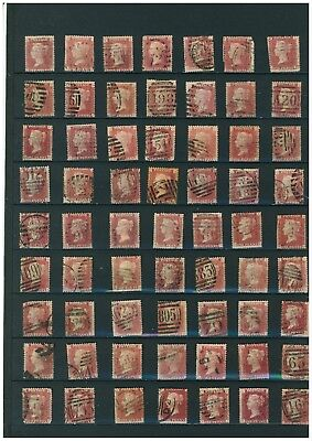 GB Queen Victoria 1858 1d Red Stamps. 63 in Total all Different Plate Numbers.
