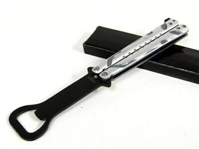 Silver Grey Bottle Opener Balisong Butterfly Practice Training Knife Trainer