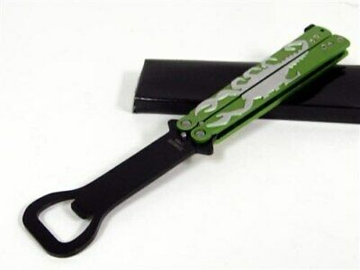 Green Scorpion Bottle Opener Balisong Butterfly Practice Training Knife Trainer