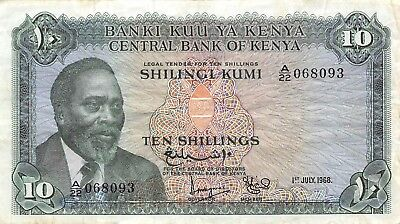 Kenya  10/-  1.7.1968  P 2c  Series A/22  Circulated Banknote LB0917jwb