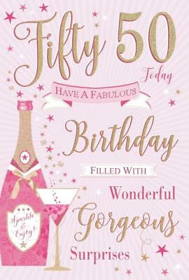 50th 50 Female Happy Birthday Card Luxury Nice Verse Made In UK
