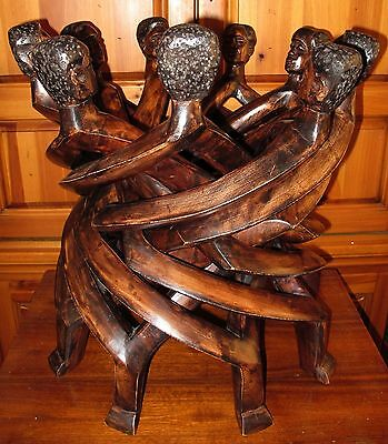RARE! 9 Head Unity Sculpture African Carved Wood Circle Of Life Stand Ghana