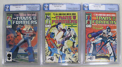 The Transformers #1-3 PGX Graded 9.4, 9.0, 9.0 1st App Autobots and Decepticons