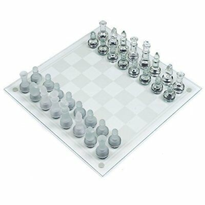 Deluxe 32 Piece Frosted Glass Chess Board Set Traditional Party Fun Game Gift