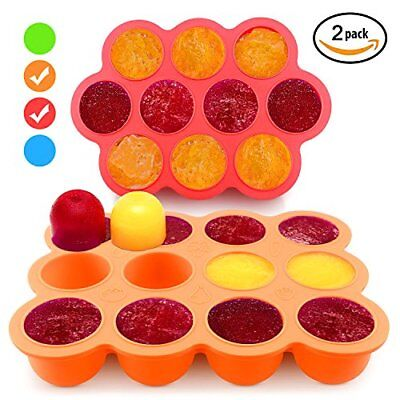 Silicone Freezer Tray for Baby Food Storage 2 Pack- Reusable Baby Food Storage C