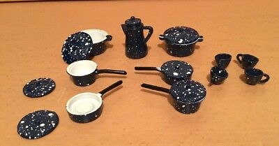 Melody Jane Dolls Houses 1:12 Scale Metal Saucepan Pan Set + Coffee Pot and Cups