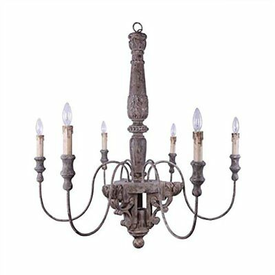 40 Round Wood & Metal Chandelier w 6 Lights, 60W