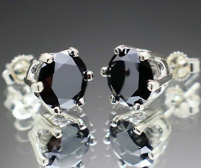 3.20tcw Natural Black Diamond Stud Earrings, Certified AAA Grade & $1790 Value