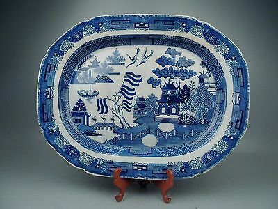 Ea. 19th Cent English Staffordshire Transferware Blue Willow Pattern Platter PC