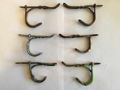 Lot of 6 Vintage Screw In Twisted Wire Rustic, Primitive Closet Hangers Hooks