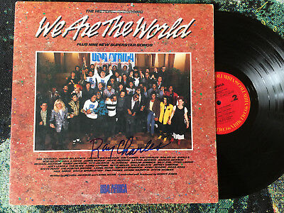 Ray Charles Autograph He Signed We Are The World Usa For Africa 1985 Record