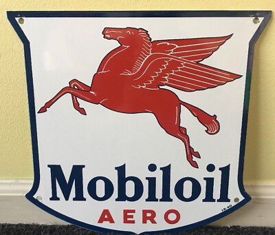 "Vintage Mobil Mobiloil Aero 11 3/4"" Porcelain Metal Gasoline & Oil Sign Aviation"