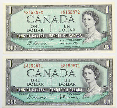 1954 Bank of Canada - 1 (One) Dollar Banknotes - x2 Sequential Notes