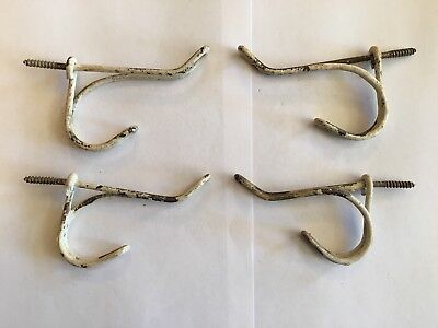 Lot of 4 Vintage Screw In Twisted Wire Rustic, Primitive Closet Hangers Hooks