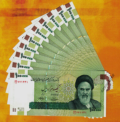 10 x 100,000 Iran Rials Banknotes UNC 1 Million Currency Uncirculated 100000 Lot