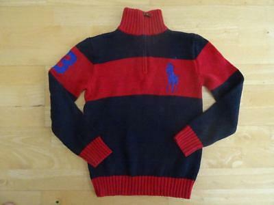 RALPH LAUREN POLO boys navy red block stripe knitted sweater jumper AGE 8 YEARS