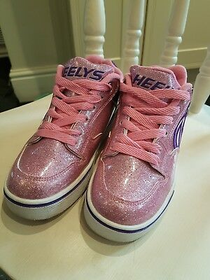 Heelys size 3 PINK and PURPLE sparkly.
