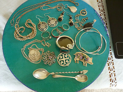 Job Lot Of Vintage Sterling Silver Jewellery Items & Other- 173Grms