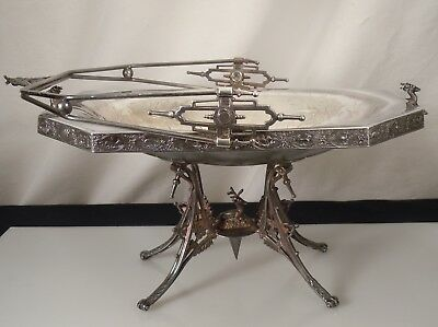 E.G. Webster Silver Plate Stag Footed Basket