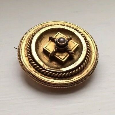 Victorian Pinchbeck Gold Plated Enamel Pearl Antique Mourning  Brooch