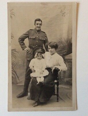 vintage postcard, WW1, Queens Royal West Surrey Regiment, soldier & family