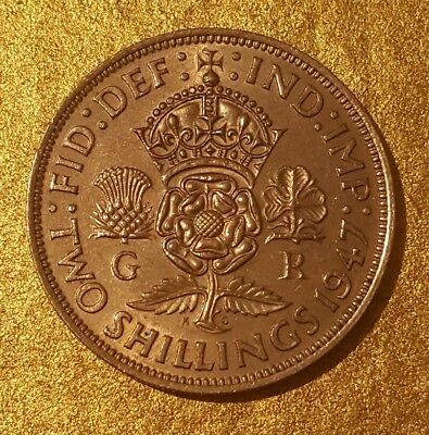 UNCIRCLATED 1947 King George VI two shilling Florin Beautiful coin