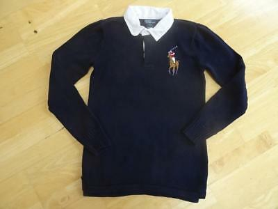 RALPH LAUREN POLO boys navy blue knitted jumper top AGE 15-16 YEARS SMALL MENS