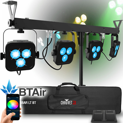 Chauvet DJ 4BAR LT USB Lighting Par Can Bar Wash System + Stand Bag & Footswitch