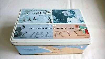 50th ANNIVERSARY NORMANDY LIBERATION BISCUIT TIN ( FRENCH) MILITARY
