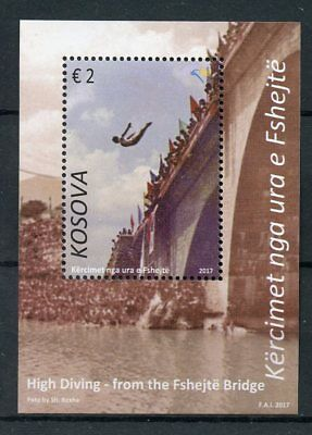 Kosovo 2017 MNH High Diving Fshejte Bridge 1v M/S Bridges Architecture Stamps