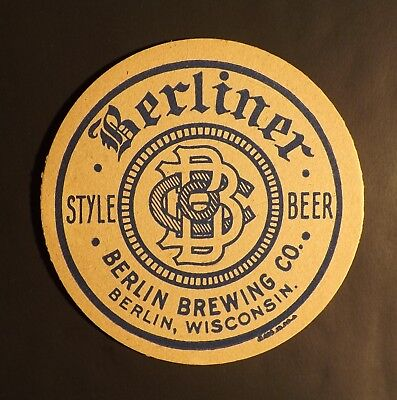 Vintage Berliner Beer Coaster -  Berlin, WI Wisconsin - No Reserve!