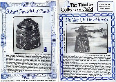 The Thimble Collectors Guild Monthly Magazine March 1986 Vol IV Edition No3