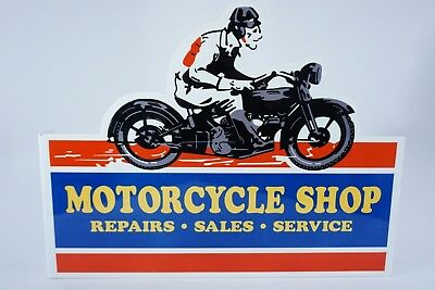 "Vintage Goodyear Motorcycle Shop 16"" Metal Tires Dealer Gasoline Oil Flange Sign"