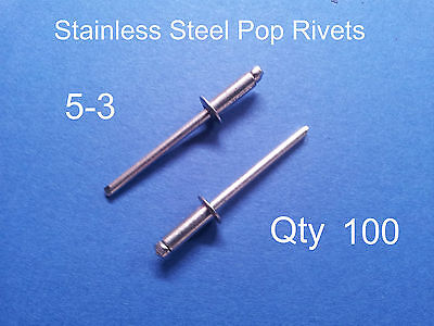 """100 POP RIVETS STAINLESS STEEL BLIND DOME 5-3 4mm x 8.6mm 5/32"""""""