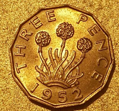 UNCIRCULATED George VI, Brass Threepence, 1952. BEAUTIFUL COIN