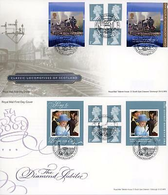 GB 2012 Diamond Jubilee & Scots Locomotives Retail Booklets on RM FDC's