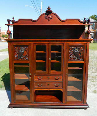 Unusual Owl Carved Mahogany Eastlake Bookcase Display Cabinet circa 1910