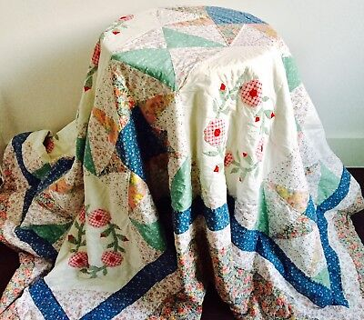 Vintage Hand Made Patchwork Quilt Blanket & Cushion Cover