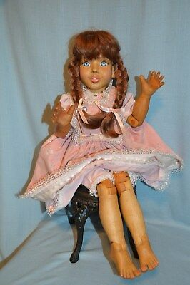 "Unique OOAK Hand Carved Wooden Doll   22"" tall and Jointed"