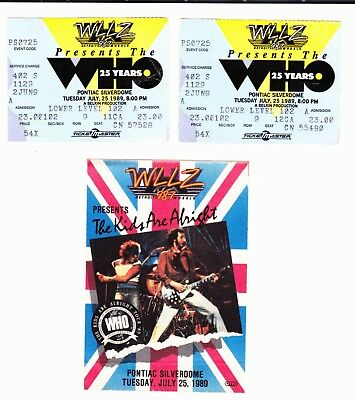 THE WHO The Kids Are Alright Tour 1989 tickets stubs + fabric sticker Pontiac MI
