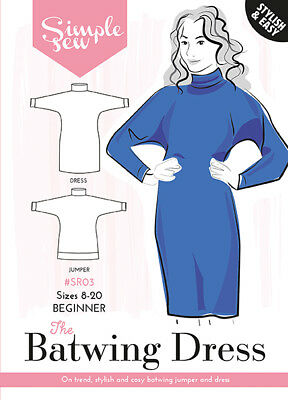 Simple Sew Patterns Batwing Dress and Jumper  8-20 UK SPECIAL OFFER!