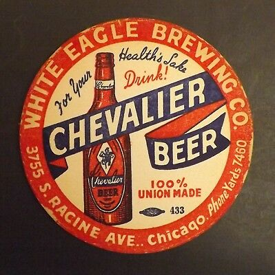 Vintage Chevalier White Eagle Beer Coaster -  Chicago, IL - No Reserve!