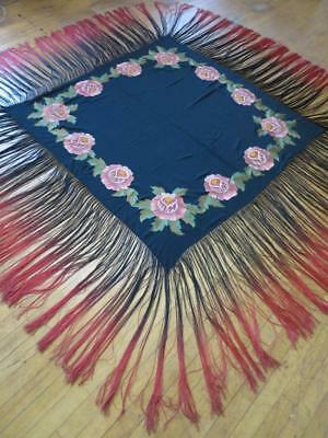 Gorgeous Antique Flappers Art Deco Silk Shawl- Tamboured Roses & 2 Tone Fringing