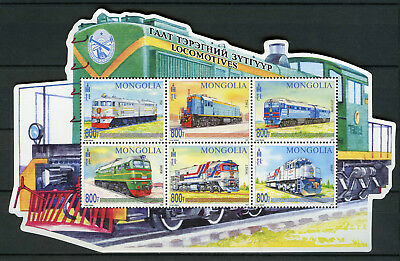 Mongolia 2017 MNH Locomotives 6v M/S Trains Railways Rail Stamps