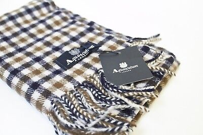 BNWT Aquascutum London 100% lambswool Club check scarf Checkered  RRP £129.99