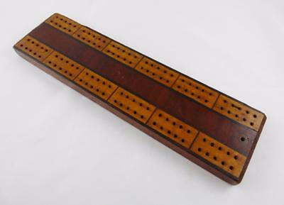 Vintage Wooden Inlaid Cribbage Board c 1930s to 1950s