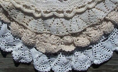 Large Doily Lot of Hand Crochet ECRU & WHITE DOILIES in Small & Medium Sizes  NR